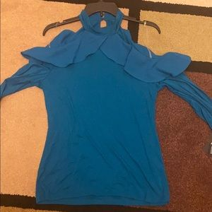 NWT INC green cold shoulder stretchy ruffles top